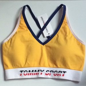 TOMMY HILFIGER LEMONADE YELLOW SPORTS BRAS